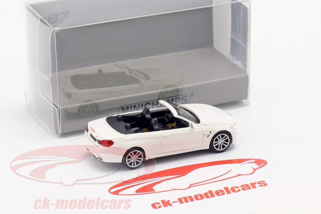 BMW M4 cabriolé ano de construção 2015 branco 1:87 Minichamps