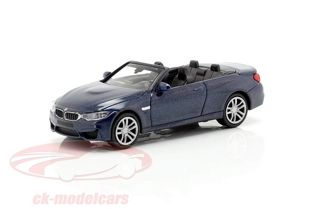 BMW M4 Cabriolet Baujahr 2015 blau metallic 1:87 Minichamps