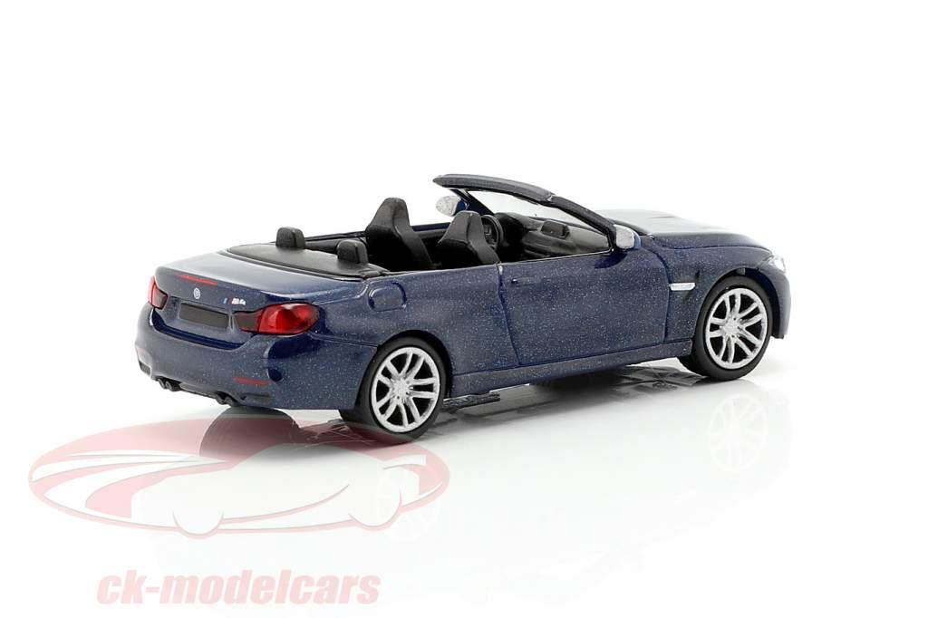 BMW M4 Cabriolet Opførselsår 2015 blå metallisk 1:87 Minichamps
