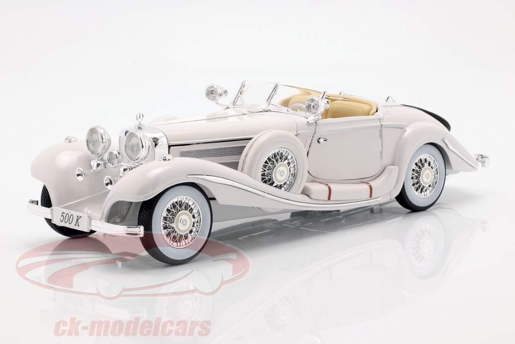 Mercedes Benz 500 K Special Roadster Year 1936 white 1:18 Maisto