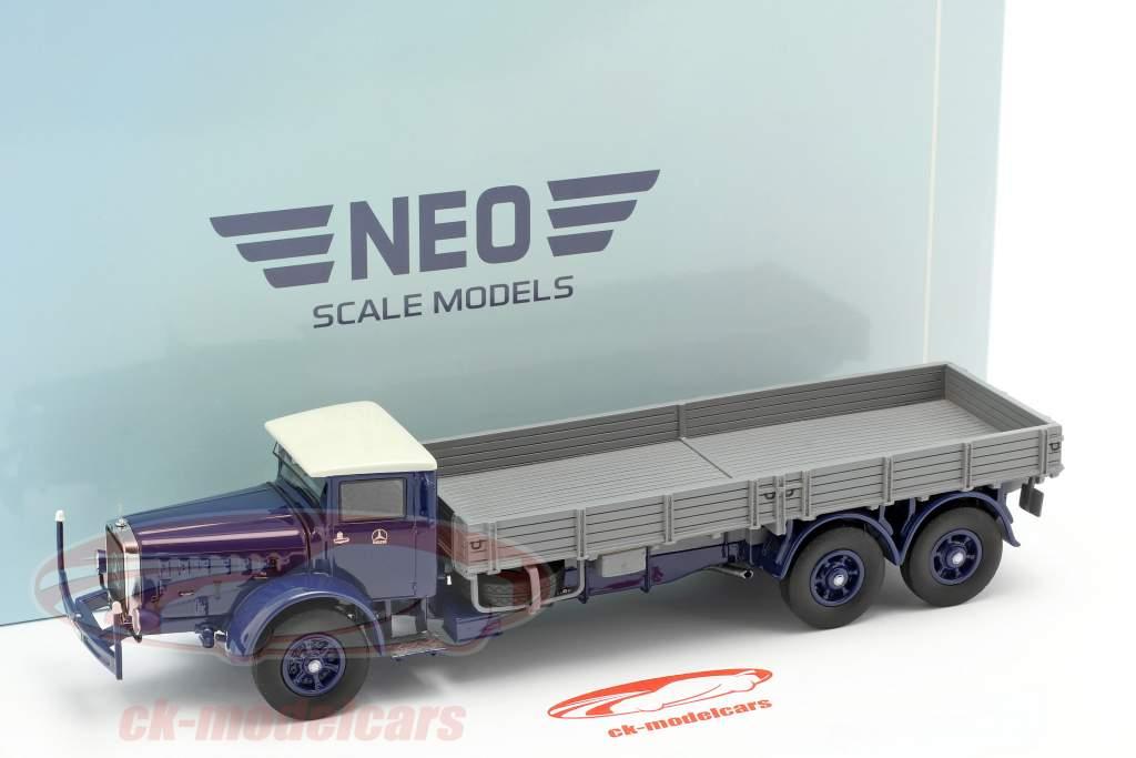 Mercedes-Benz L 10000 camion piattaforma anno di costruzione 1937 blu scuro / grigio 1:43 Neo