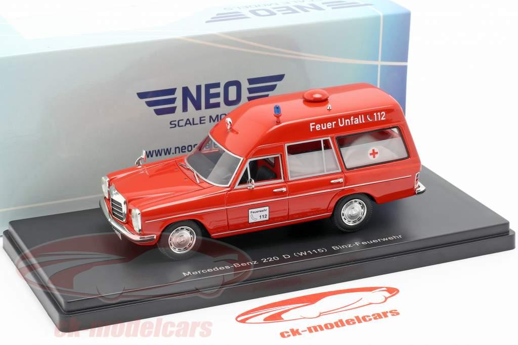 Mercedes-Benz 220D (W115) Binz ambulancia rojo 1:43 Neo