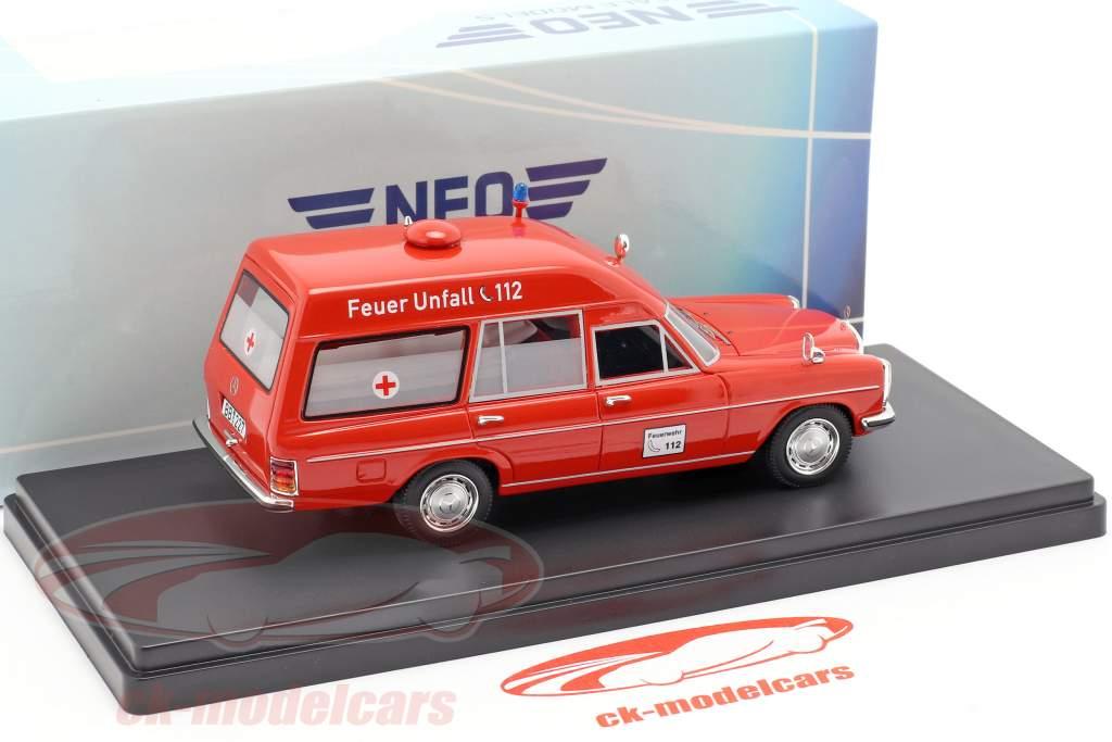 Mercedes-Benz 220D (W115) Binz ambulance rød 1:43 Neo