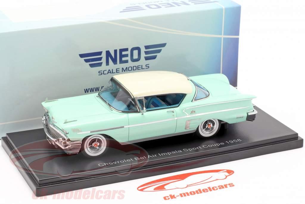 Chevrolet Bel Air Impala Sport coupe anno di costruzione 1958 luminoso verde / bianco 1:43 Neo