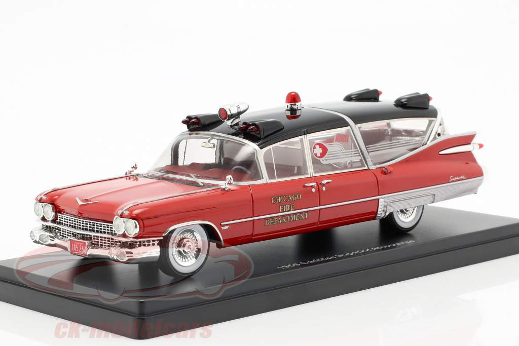 Cadillac Superior ambulanza anno di costruzione 1959 rosso / nero 1:43 Neo