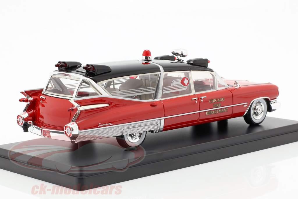 Cadillac Superior Ambulance Baujahr 1959 rot / schwarz 1:43 Neo