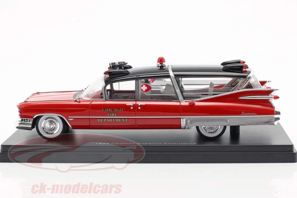 Cadillac Superior ambulance Opførselsår 1959 rød / sort 1:43 Neo