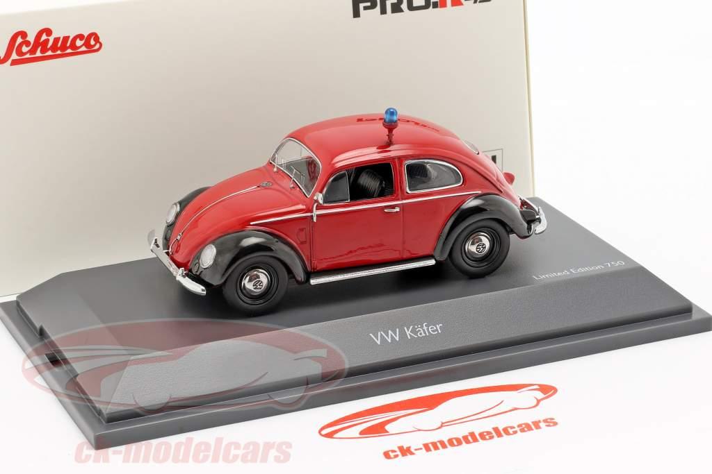 Volkswagen VW scarafaggio Ovali vigili del fuoco rosso / nero 1:43 Schuco