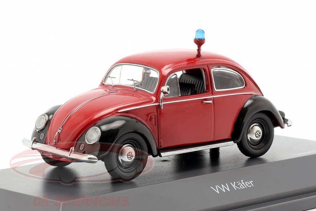 Volkswagen VW coléoptère Ovali pompiers rouge / noir 1:43 Schuco