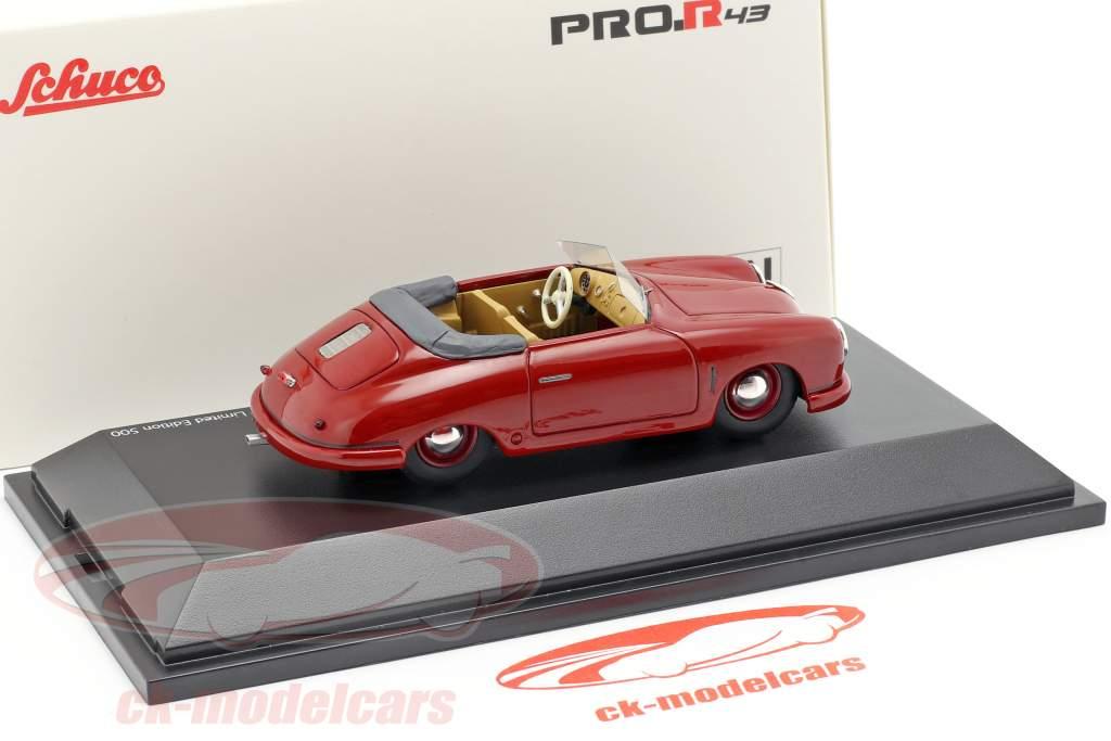 Porsche 356 Gmünd Cabriolet Open Top mørk rød 1:43 Schuco