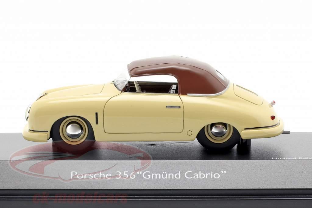 Porsche 356 Gmünd cabriolé Closed Top bege / marrom 1:43 Schuco