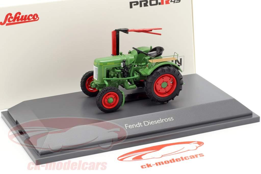 Fendt F20G Dieselross Traktor mit Mähbalken grün 1:43 Schuco