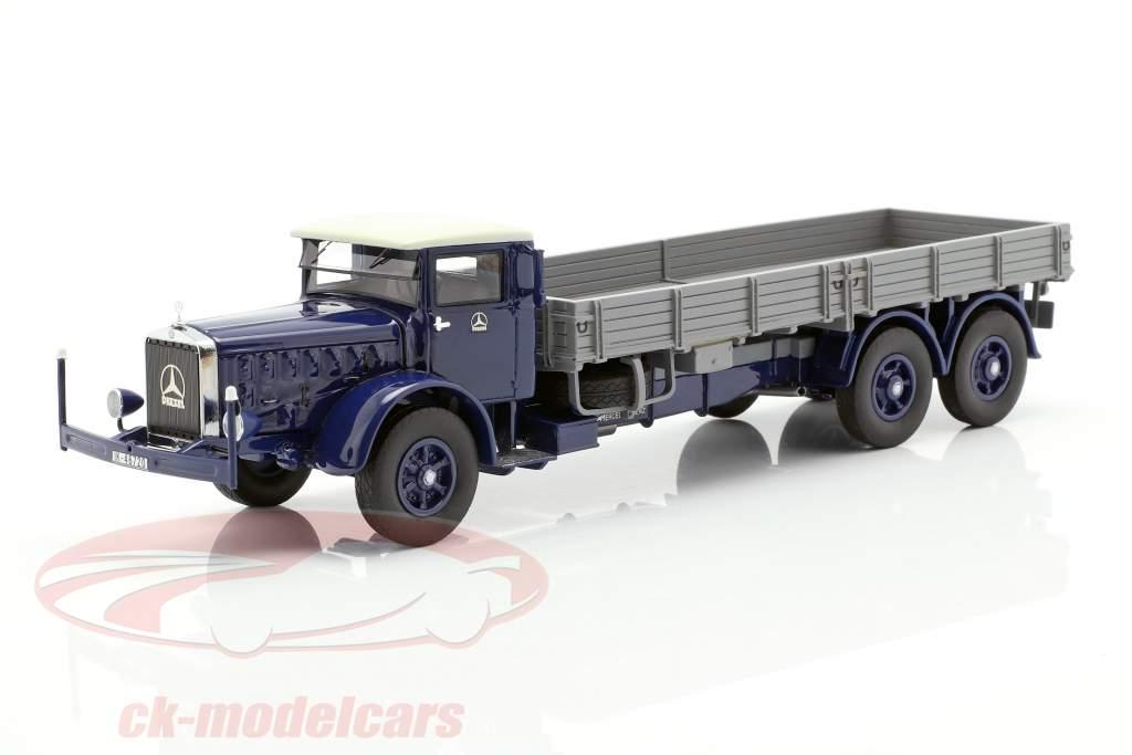 Mercedes-Benz L 10000 camion plate-forme année de construction 1937 bleu foncé / gris 1:43 Neo