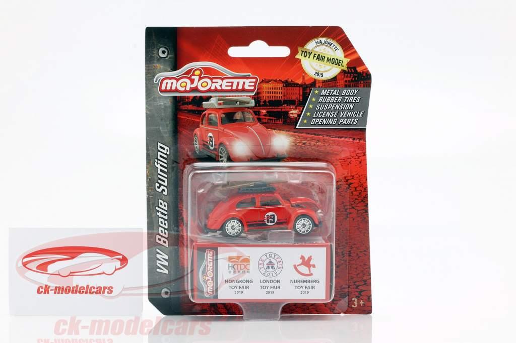 Volkswagen VW coléoptère avec planche de surf Toy Fair 2019 rouge 1:64 Majorette