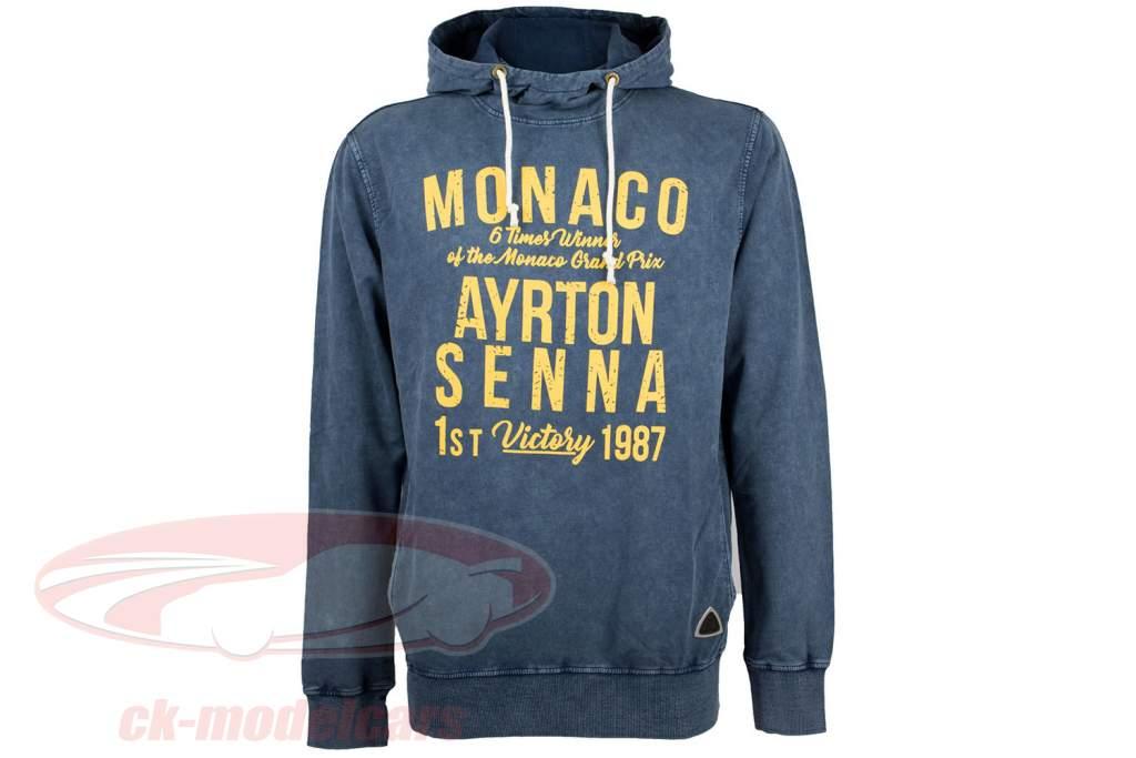 Ayrton Senna sweat à capuche 1er victoire Monaco GP formule 1 1987 bleu / jaune