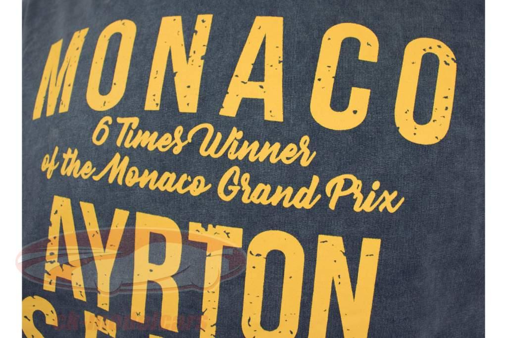Ayrton Senna Felpa con cappuccio 1 ° vittoria Monaco GP formula 1 1987 blu / giallo