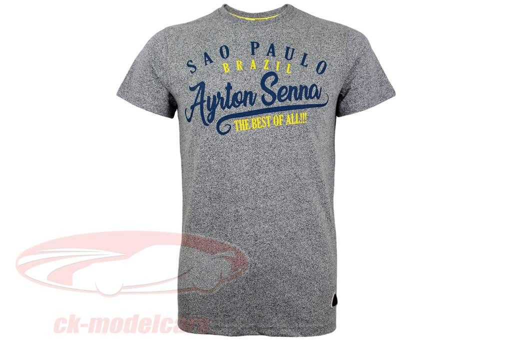 Ayrton Senna T-Shirt Vintage Sao Paulo grau-melange
