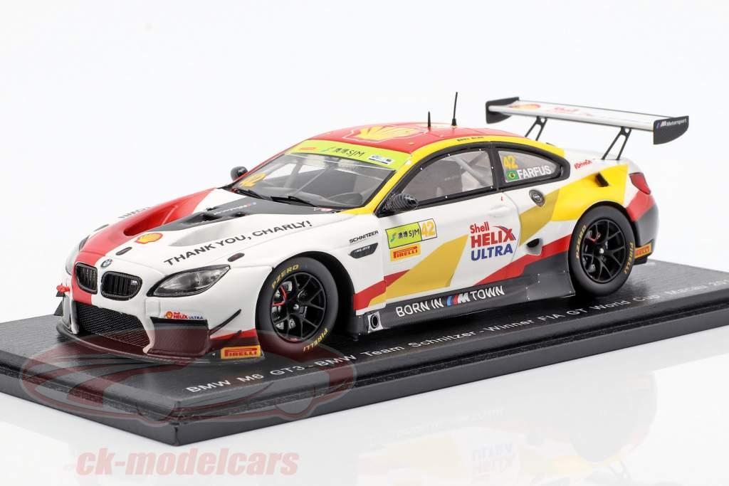 BMW M6 GT3 #42 vincitore FIA GT World Cup Macau 2018 Augusto Farfus 1:43 Spark