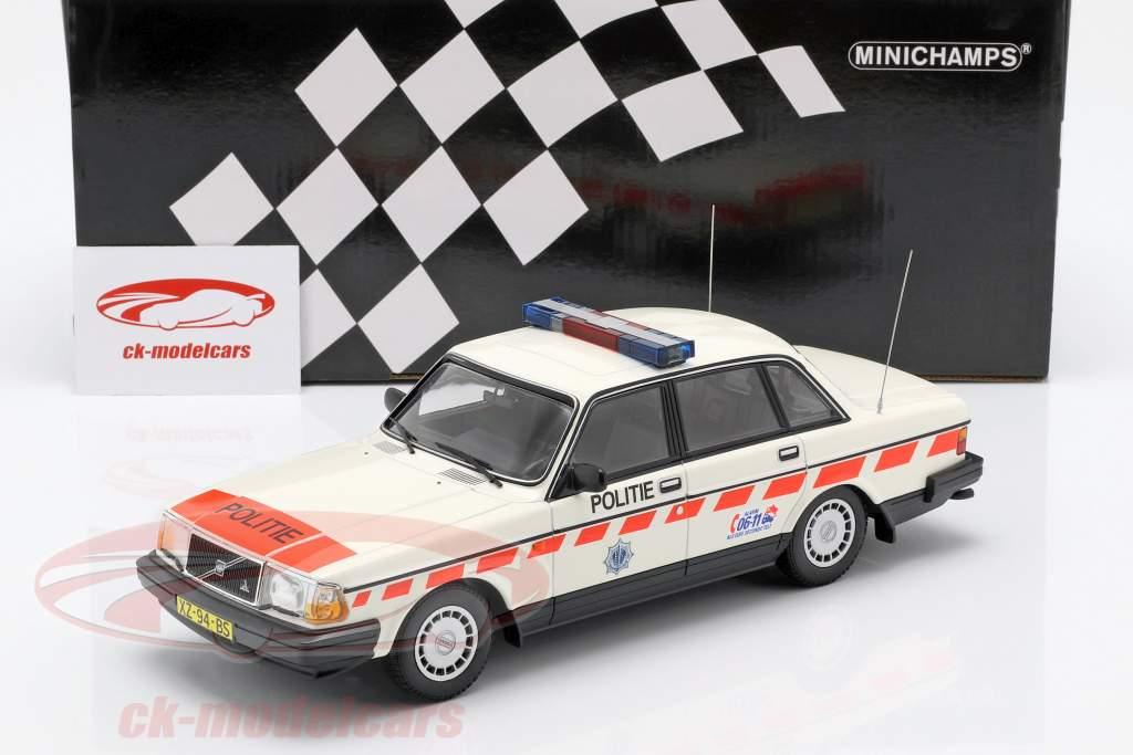 Volvo 240 GL policía Países Bajos año de construcción 1986 blanco 1:18 Minichamps