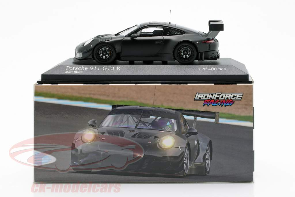 Porsche 911 (991) GT3 R 2018 Iron Force Plain Body natte noir 1:43 Minichamps