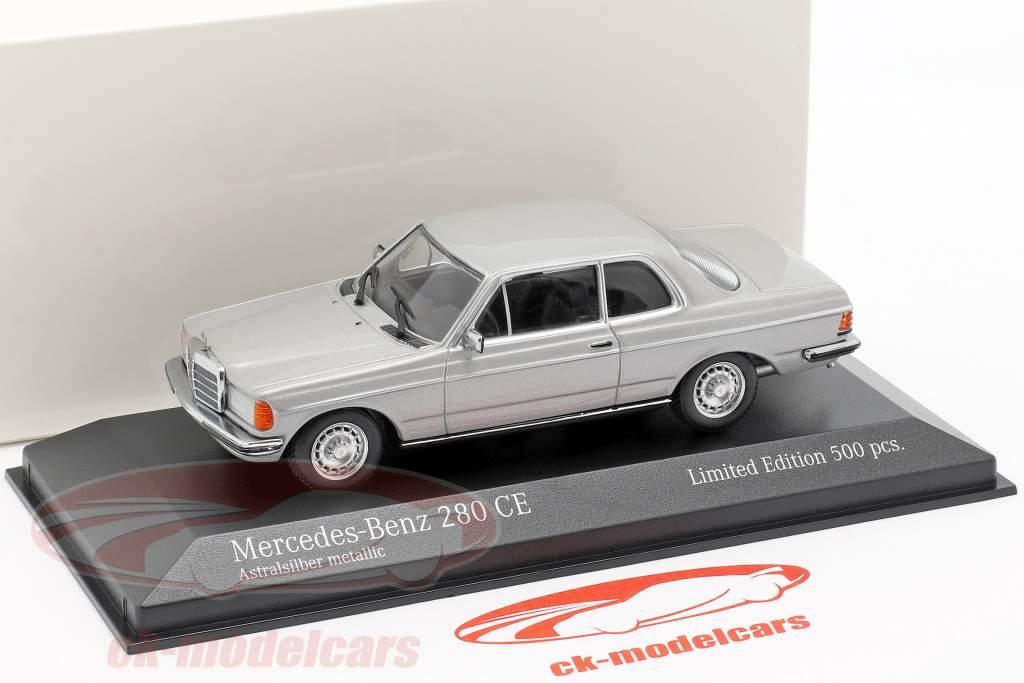 Mercedes-Benz 280 CE (W123) ano de construção 1976 prata astral metálico 1:43 Minichamps