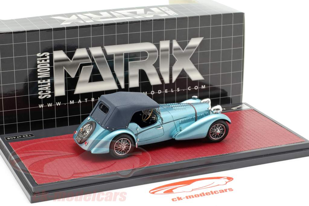 Bugatti T57 Roadster Vanden Plas Closed année de construction 1938 bleu métallique 1:43 Matrix