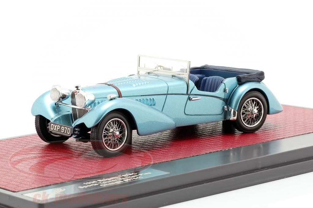 Bugatti T57 Roadster Vanden Plas Open year 1938 blue metallic 1:43 Matrix