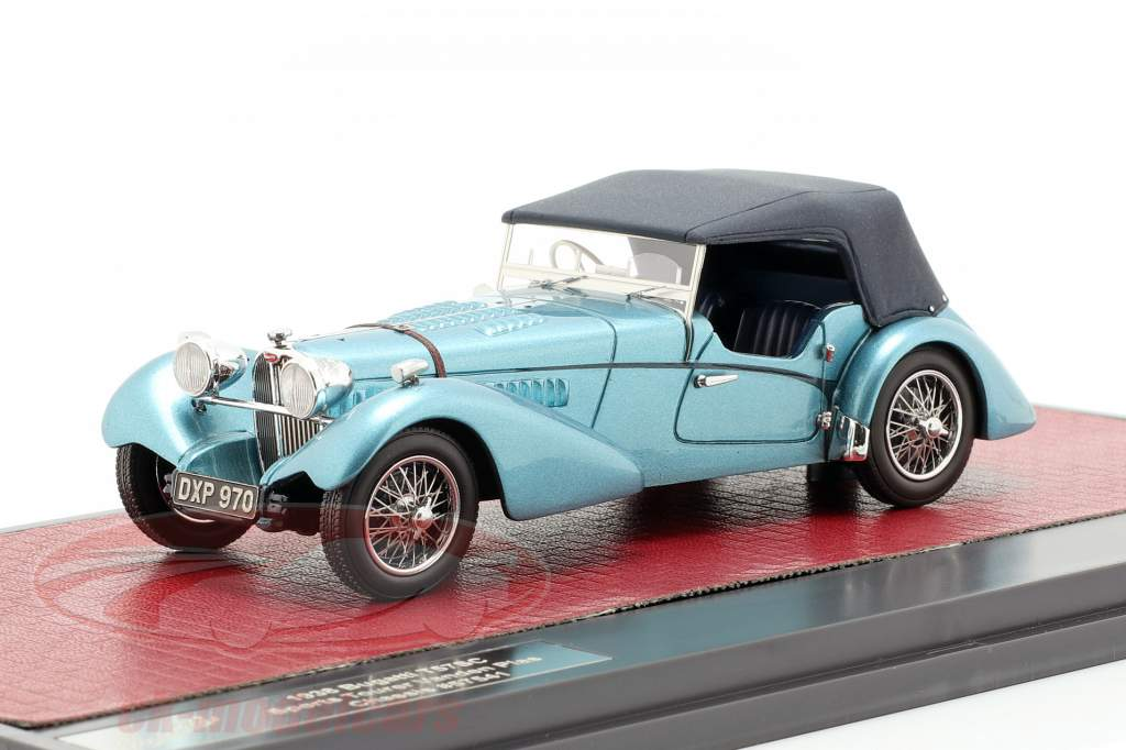 Bugatti T57 Roadster Vanden Plas Closed year 1938 blue metallic 1:43 Matrix