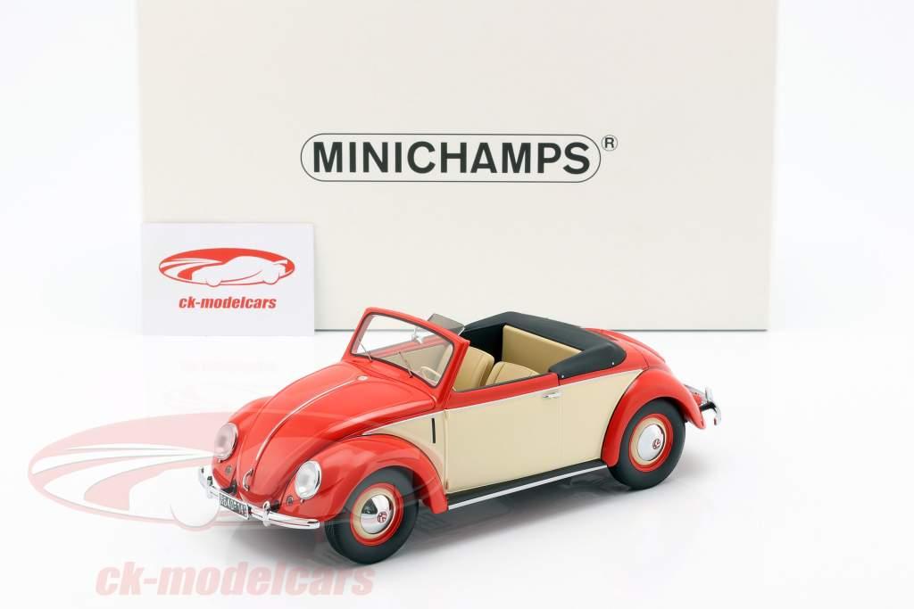 Volkswagen VW Beetle Convertible Hebmüller year 1949 red / cream 1:18 Minichamps