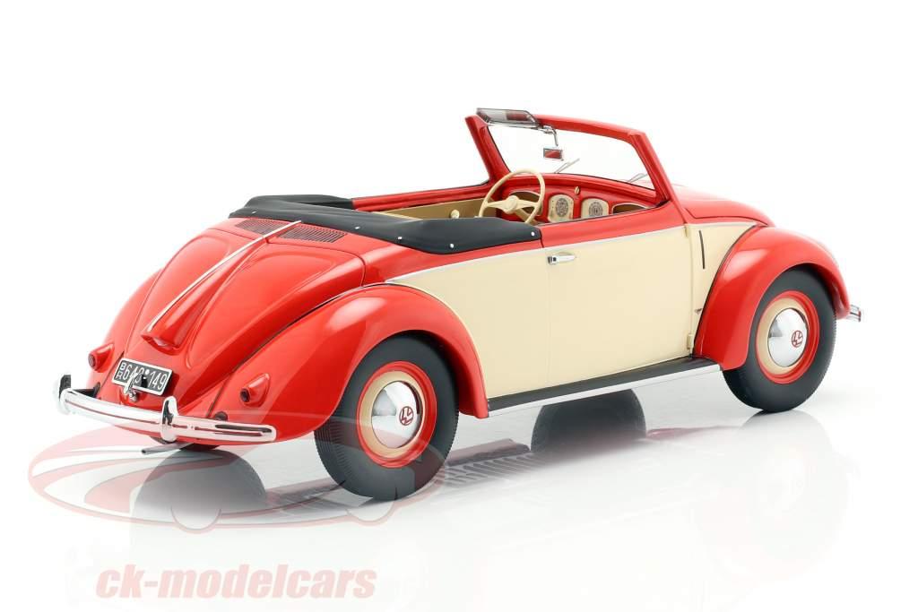 Volkswagen VW Käfer 1200 Cabriolet Hebmüller 1949 rot / creme 1:18 Minichamps