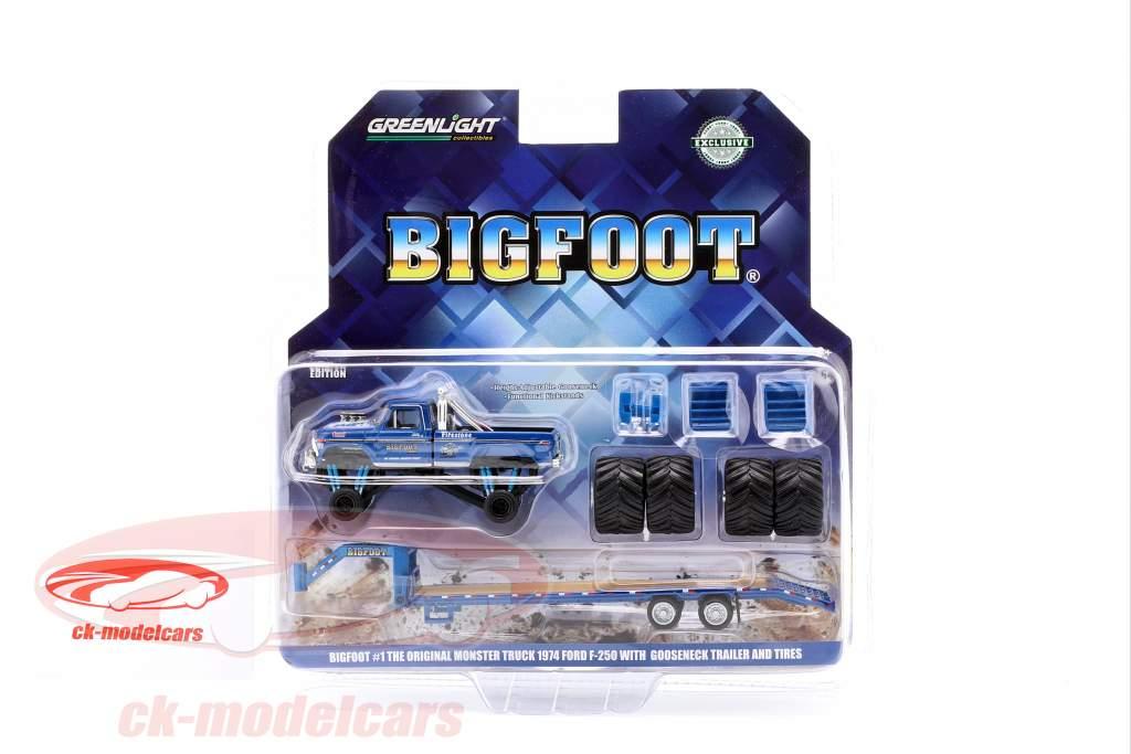 Ford F-250 Monster Truck Bigfoot anno di costruzione 1974 con trailer blu 1:64 Greenlight