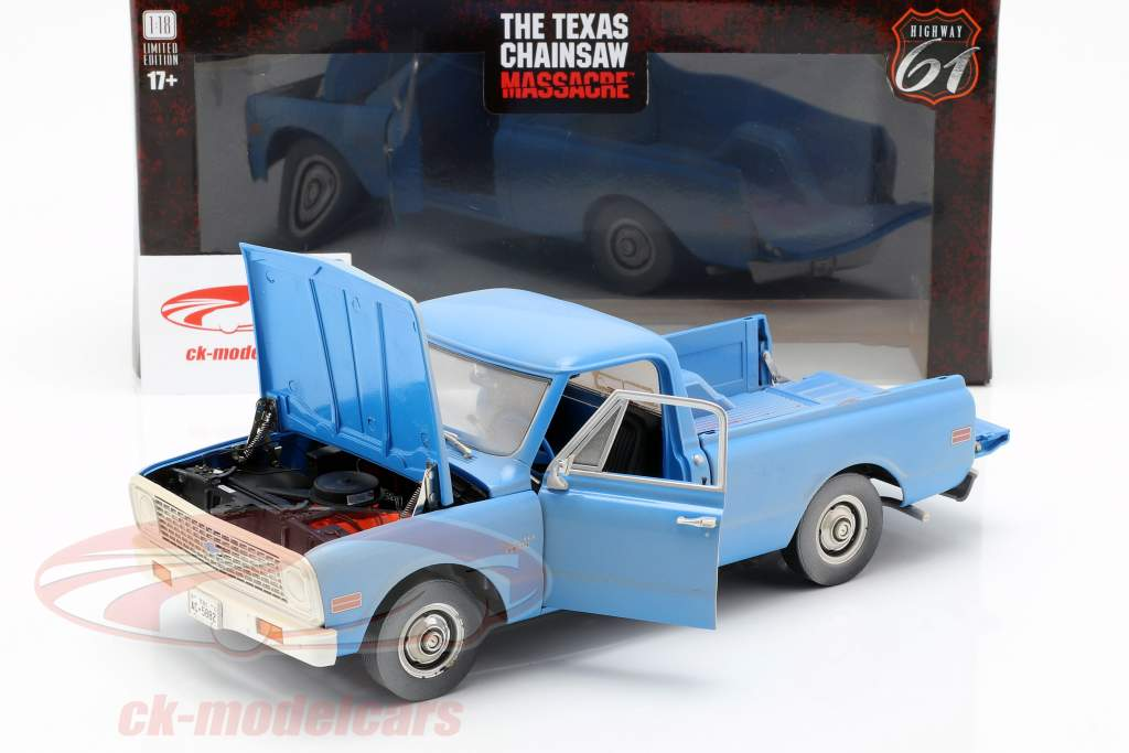 Chevrolet C-10 filme The Texas Chainsaw Massacre 1974 azul 1:18 Greenlight