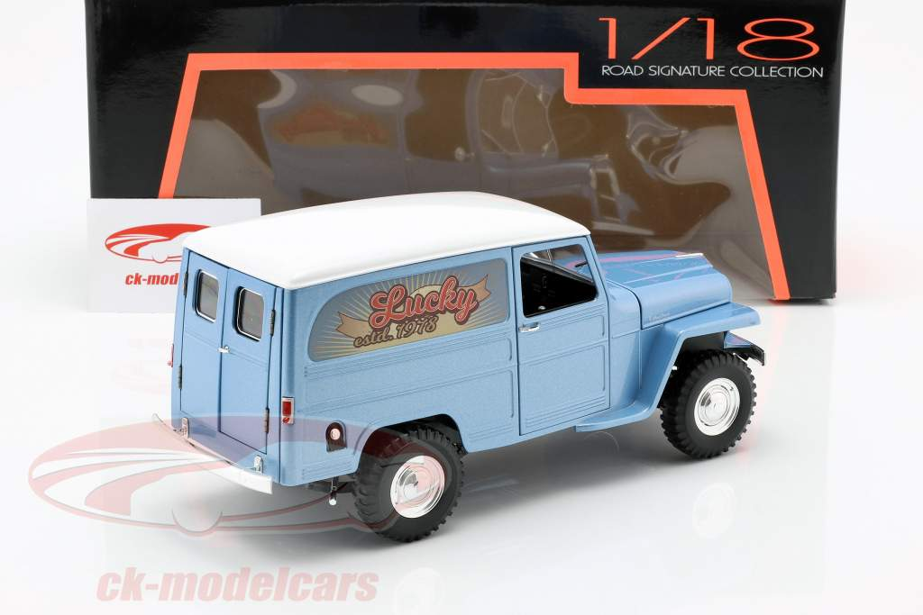 Willys Jeep Station Wagon Opførselsår 1978 SILBERBLAU / hvid 1:18 Lucky DieCast