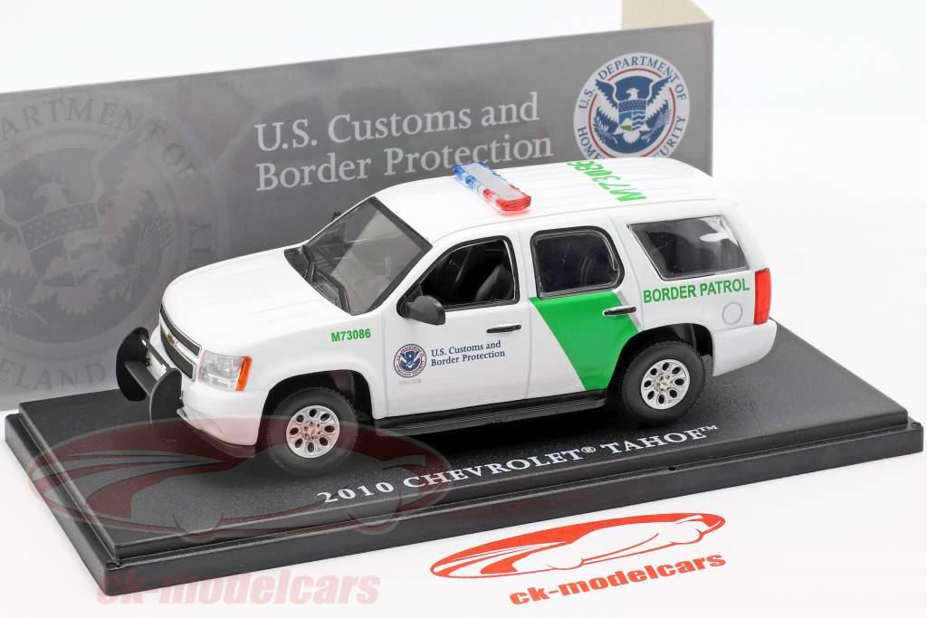 Chevrolet Tahoe frontera patrulla año de construcción 2010 blanco / verde 1:43 Greenlight