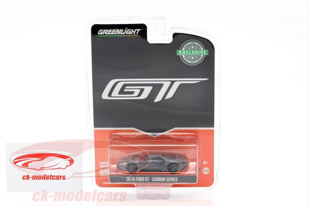 Ford GT Bouwjaar 2019 koolstof serie grijs / zwart / oranje 1:64 Greenlight