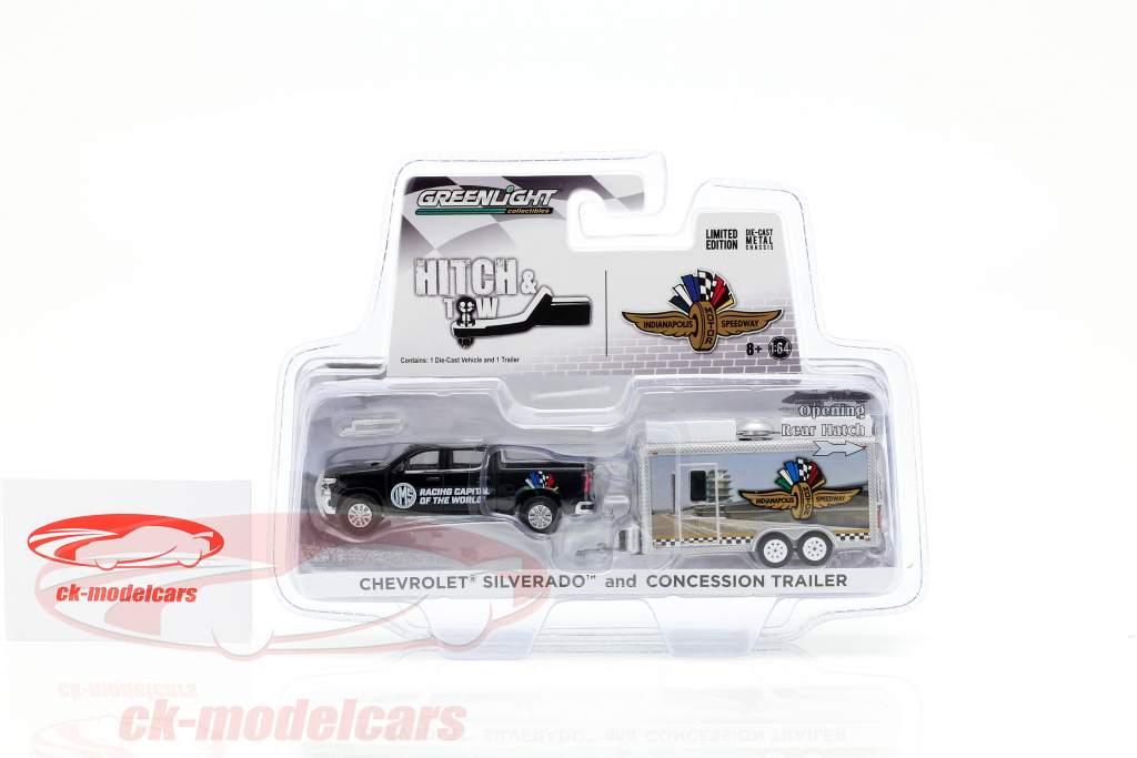 Chevrolet Silverado e concessão trailer IndyCarSeries preto / prata 1:64 Greenlight