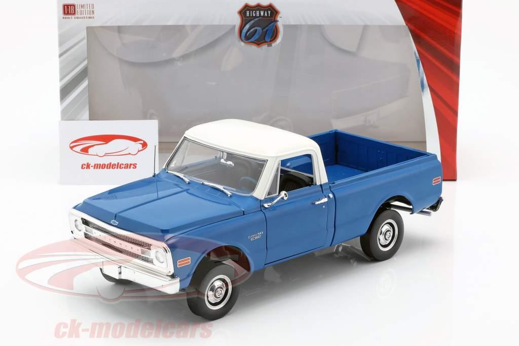 Chevrolet C-10 avec Kit de levage année de construction 1970 bleu / blanc 1:18 Greenlight