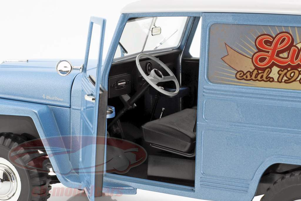 Willys Jeep Station Wagon Baujahr 1978 silberblau / weiß 1:18 Lucky DieCast