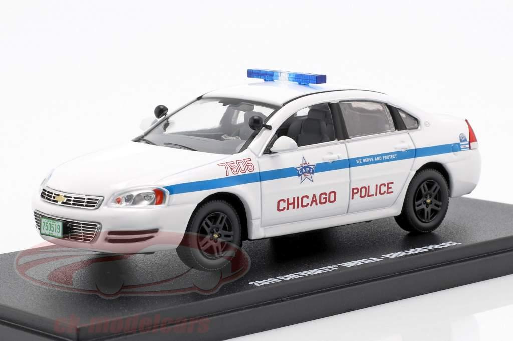 Chevrolet Impala Chicago Police ano de construção 2010 branco 1:43 Greenlight