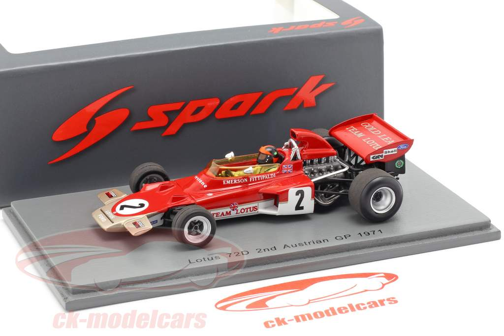 Emerson Fittipaldi Lotus 72D #2 2e Oostenrijk GP formule 1 1971 1:43 Spark