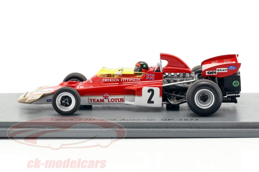 Emerson Fittipaldi Lotus 72D #2 segundo Austria GP fórmula 1 1971 1:43 Spark