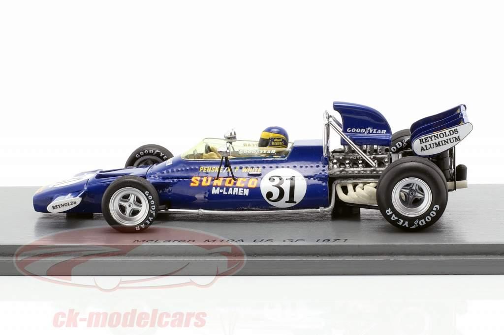 David Hobbs McLaren M19A #31 USA GP formule 1 1971 1:43 Spark