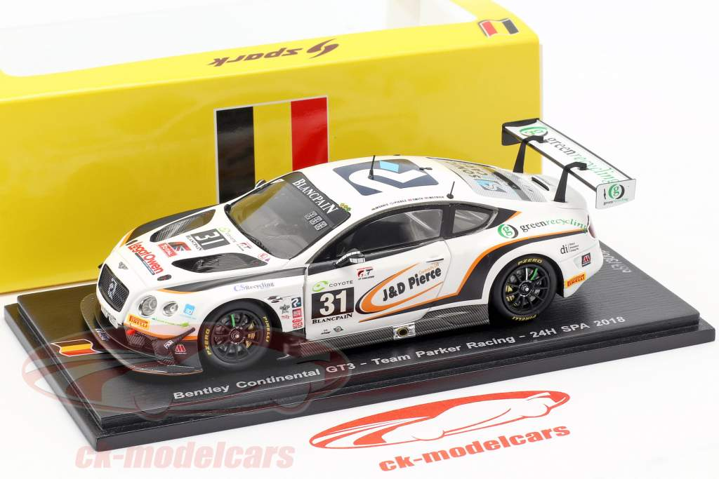 Bentley Continental GT3 #31 24h Spa 2018 Meyrick, Morris, Pierce, Smith 1:43 Spark