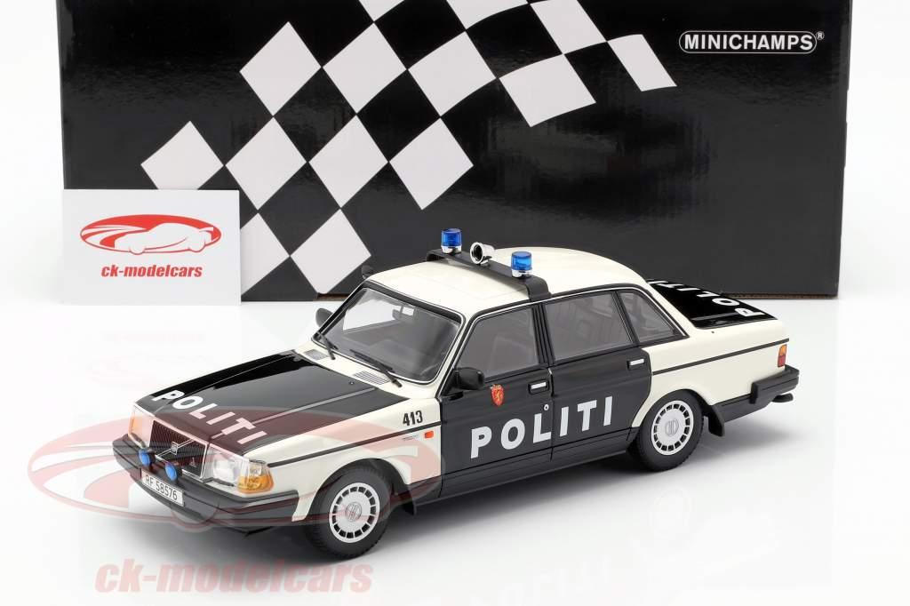 Volvo 240 GL politie Noorwegen Bouwjaar 1986 zwart / wit 1:18 Minichamps
