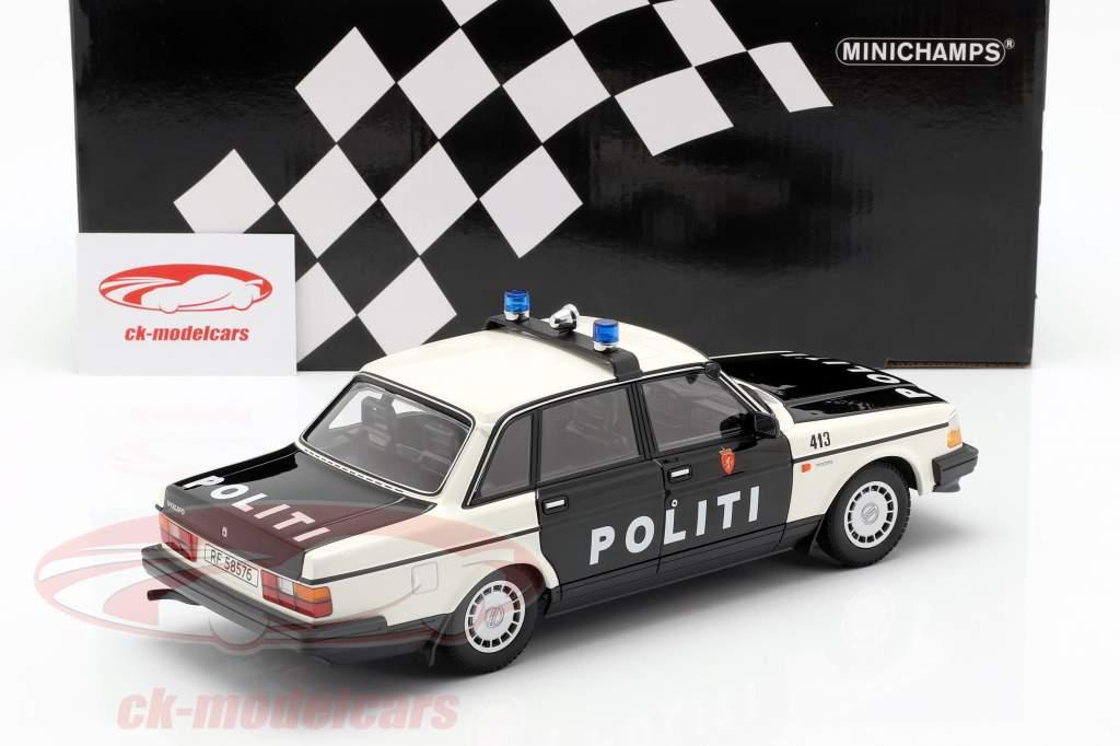 Volvo 240 GL policía Noruega año de construcción 1986 negro / blanco 1:18 Minichamps
