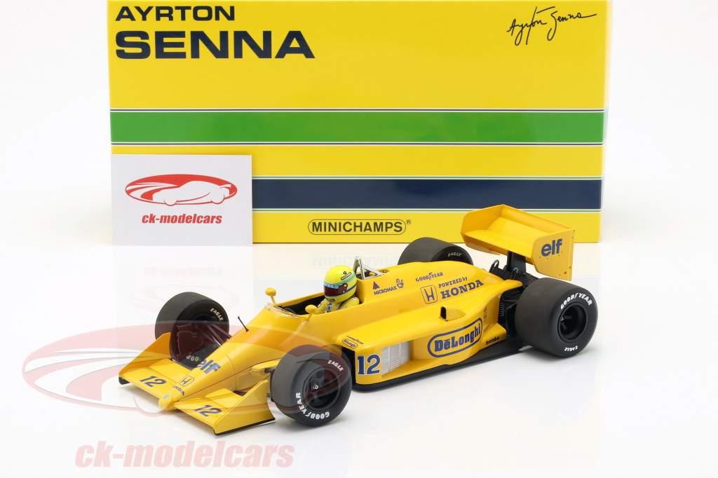 Ayrton Senna Lotus 99T #12 gagnant Monaco GP formule 1 1987 1:18 Minichamps