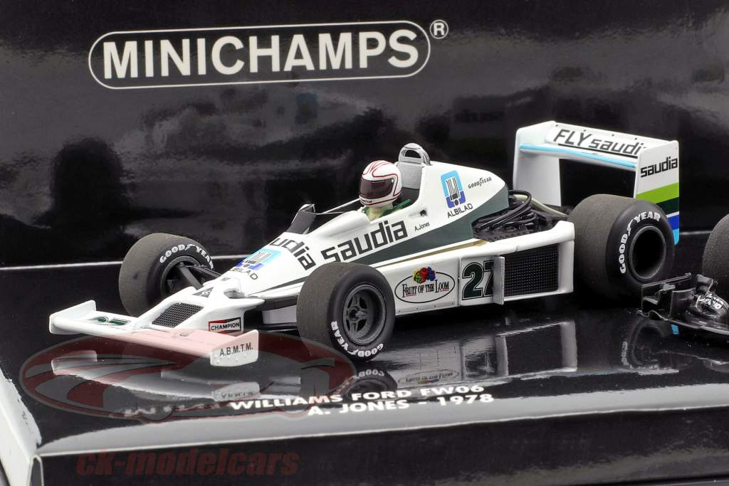 2-Car sæt Williams F1 40th jubilæum A. Jones 1978 og F. Massa 2017 1:43 Minichamps