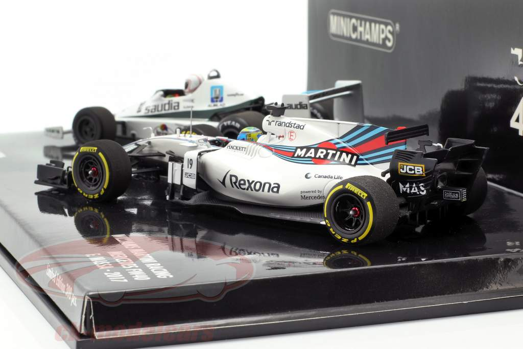 2-Car reeks Williams F1 40 verjaardag A. Jones 1978 en F. Massa 2017 1:43 Minichamps