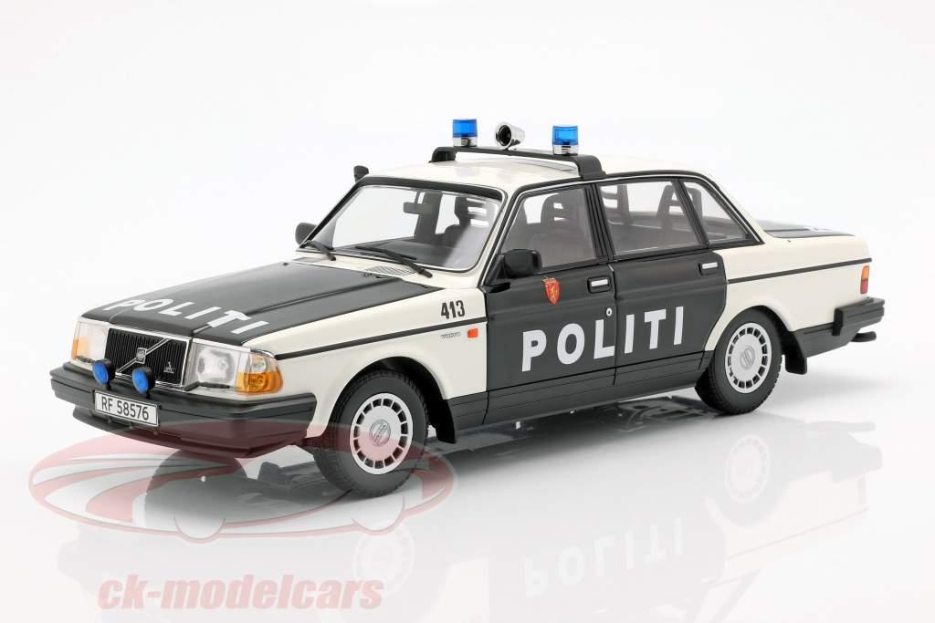 Volvo 240 GL politi Norge Opførselsår 1986 sort / hvid 1:18 Minichamps