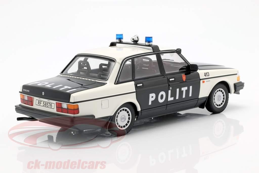 Volvo 240 GL polícia Noruega ano de construção 1986 preto / branco 1:18 Minichamps